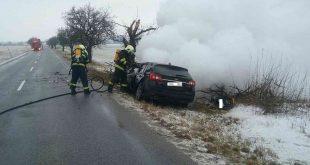 Dopravná nehoda s následným požiarom v katastri obce Jablonica