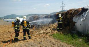 Požiar kukuričnej siláže v Ilave