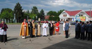 Socha sv. Floriána na hasičskej stanici v Sobranciach