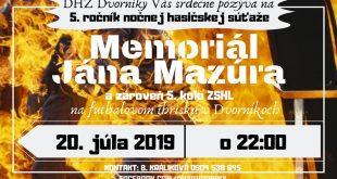 5. ročník nočnej hasičskej súťaže MJM DVORNÍKY a zároveň 5.kolo ZSHL 2019